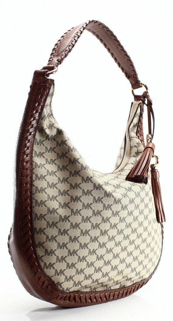 Michael Kors NWT Brown Leather Signature Lauryn Shoulder Bag Purse image 3