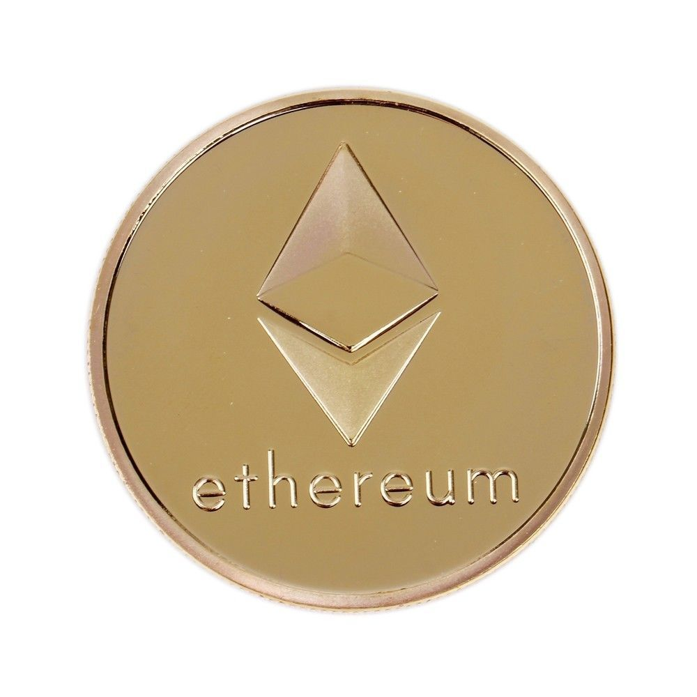 Gold Plated Commemorative Collectible Golden Iron ETH Ethereum Miner Coin - 1x