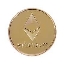 Gold Plated Commemorative Collectible Golden Iron ETH Ethereum Miner Coin - 1x image 1