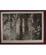 Great Horned Owl wildlife art print WOODLAND LOOKOUT Dean Johnson - Unsi... - $14.52