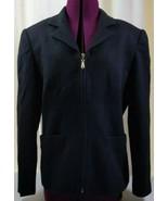 LORD & TAYLOR - 100% Wool Black Zipper Blazer  Size 8 Petite - $19.78