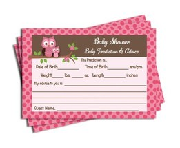Pink Owl Themed Baby Shower Advice & Prediction Cards for Mom Games (50-... - $15.71
