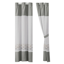 4-Pc Nico Curtain Set|Hexagon Rhomboid Parallelogram Embroidery|Gray Taupe Brown - $40.89