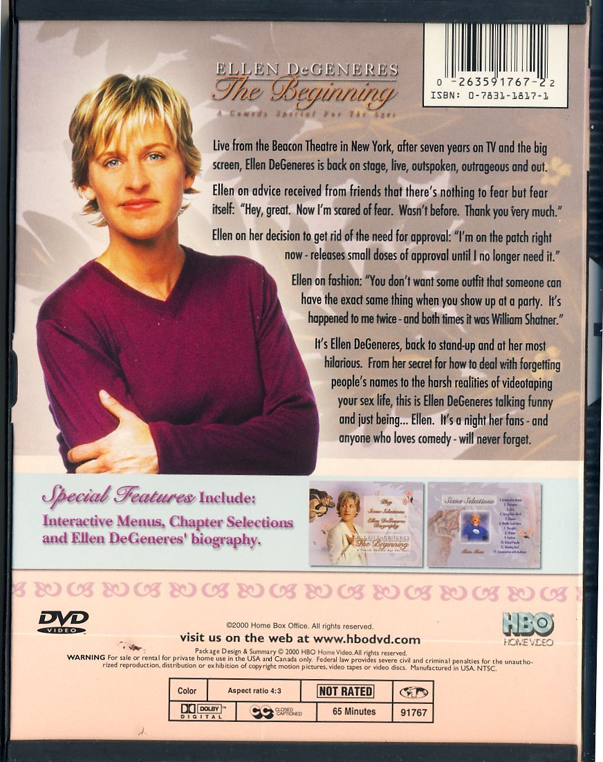 Ellen Degeneres The Beginning DVD - Snapcase 2001 image 2