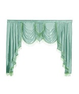 NAPEARL Polyester Thin Satin Curtain Valance Window Decoration Green, 1 ... - $28.94