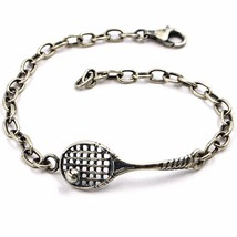SILVER 925 BRACELET, BURNISHED AND SATIN, RACKET AND GOLF BALL TENNIS image 1