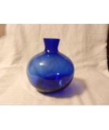 "Short Round Cobalt Blue Glass Flower Vase 6"" Tall, 5.5"" Diameter - $44.55"