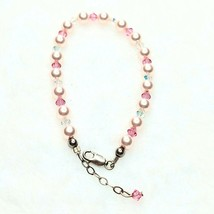 H21 Pink Faux Pearl AB And Pink Crystal Sterling Silver Bracelet - $8.85