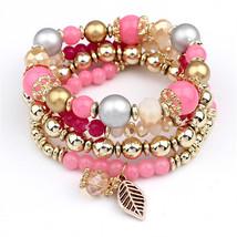 LEMOER 4pcs/set Designer Fashion Multilayer Crystal Beads Leave Tassel B... - $171,41 MXN