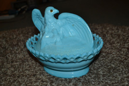 Westmoreland Glass Antique Blue Mother Eagle  Nesting Covered Dish Glass... - $49.49