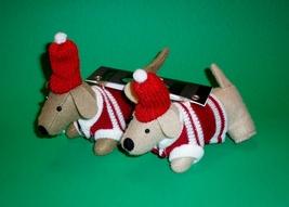 Pair of Dachshund Dog Christmas Holiday Ornament - $18.00