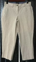 TALBOTS PETITE Wm Sz 6P Seersucker Perfect Crop Curvy Capri Pants Stripe... - $19.56