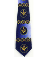 Mason Compass Mens Neck Tie Masonic Square Freemason Gift Blue Neck Tie New - $15.79