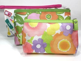 3pc Clinique Cosmetic Makeup Bags (White,Orange, Green) - $11.88