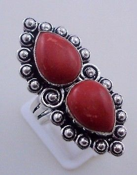 Primary image for 12 Gr Coral Stone Silver Overlay Handmade Jewelry Ring Size 8.5