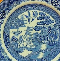 """W Adams and Sons Staffordshire Blue Willow Plate 9"""" Warranted Tunstall E... - $13.49"""