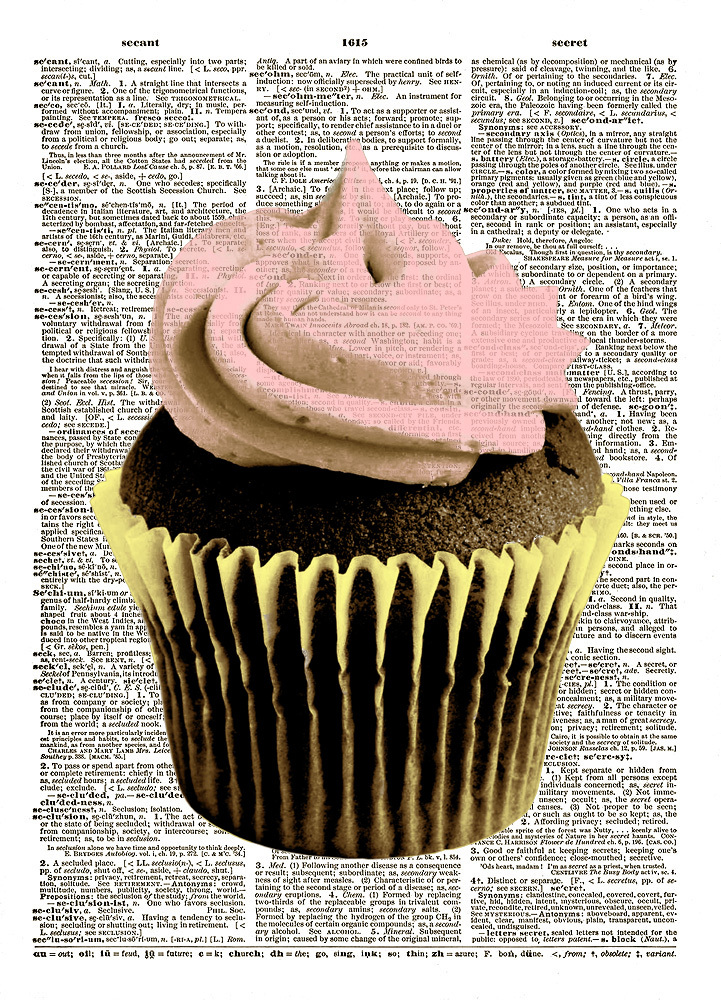 CHOCOLATE CUPCAKE with Pink Frosting Vintage Dictionary Page Art Print No. 0103