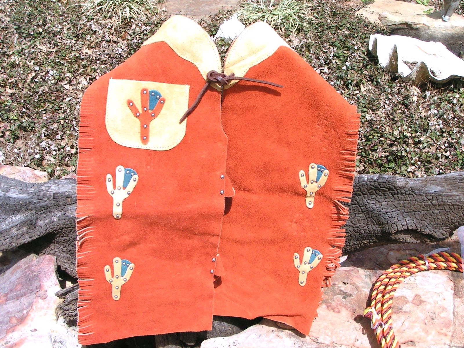Boys Leather Chaps Vest Lasso Western Outfit Size Small 2-3 yrs