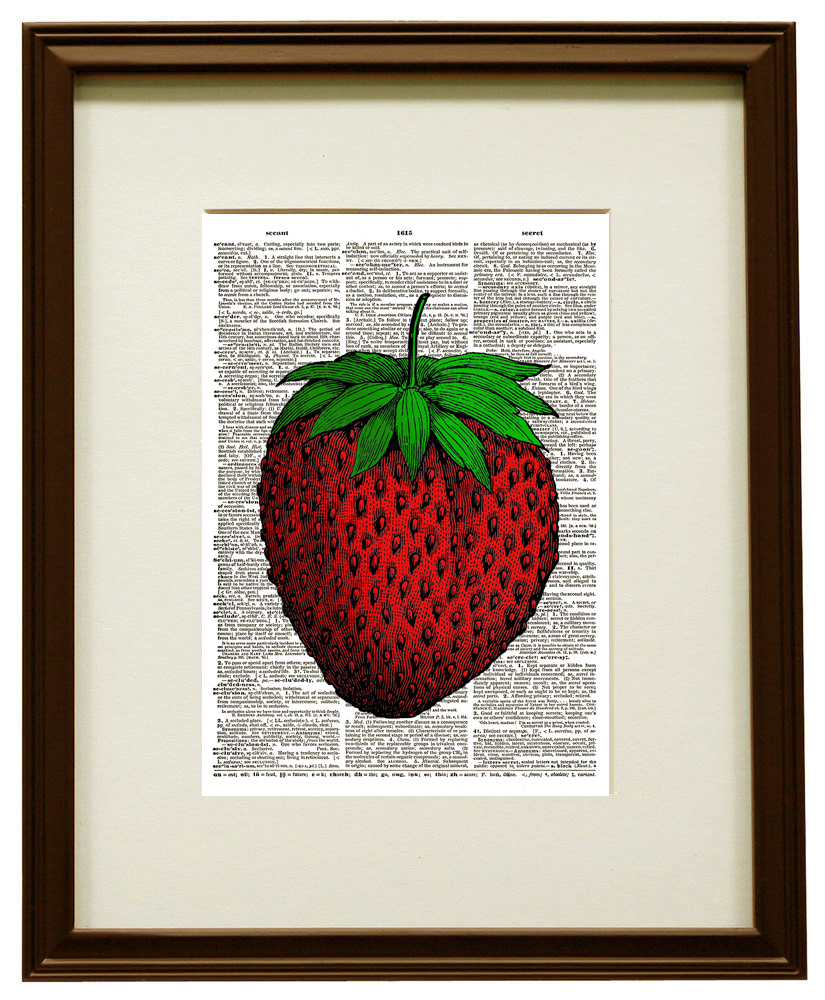 Lucious Red STRAWBERRY Ripe Fruit Vintage Dictionary Page Art Print No. 0107