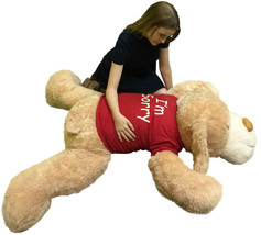 Say I'm Sorry With Giant Stuffed Puppy Dog 5 Foot Soft Tan Wears T shirt that sa - $127.11