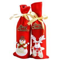 Wine Set Bottle Cover Bags Decoration Home Party Cloth+Velvet Santa Chri... - $1.92