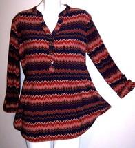 Dressbarn Top L Chevron Stretch Knit Tab Sleeve Tunic Shirt Blouse Women... - $21.85