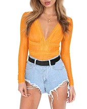 Womens Sexy V Neck Hollow Out Lace Backless Bodysuit Overall X-Large, Ye... - $19.44