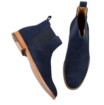 Leather Men's Chelsea Boots Blue Suede Leather Jodhpur Boots Custom Made Boots - $179.50