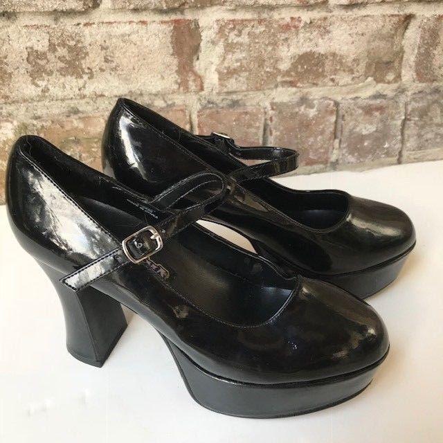 Funtasma Black Patent Leather Heels Sz 7 Mary Jane Pleaser Platform Halloween