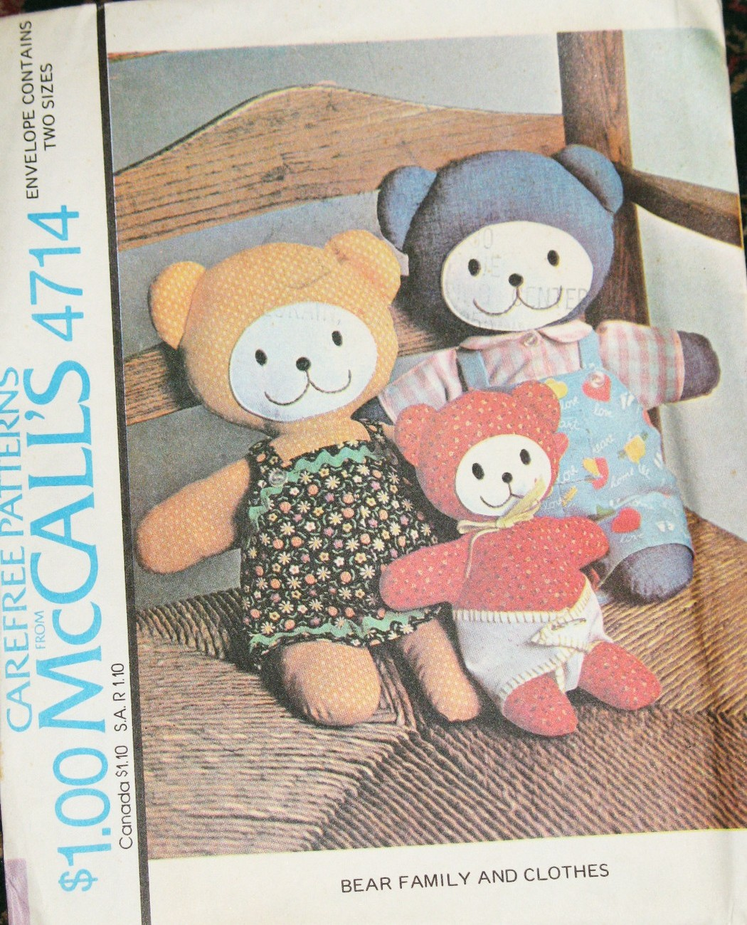Vintage McCall's Pattern # 4714 / Bear Family and Clothes - $16.95