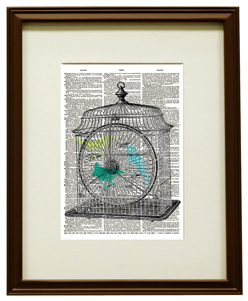 Dictionary Art Print BIRDS in BIRD CAGE Blue, Teal, and Green Colors No. 0148