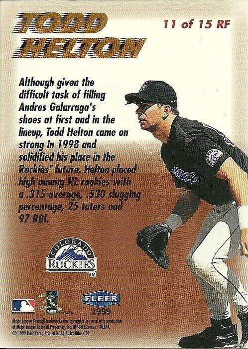 1999 Fleer Tradition Rookie Flashback Complete set 1-15