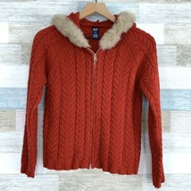GAP Hooded Cable Knit Sweater Red Full Zip Fur Trim Wool Blend Youth Girls XXL - $18.80