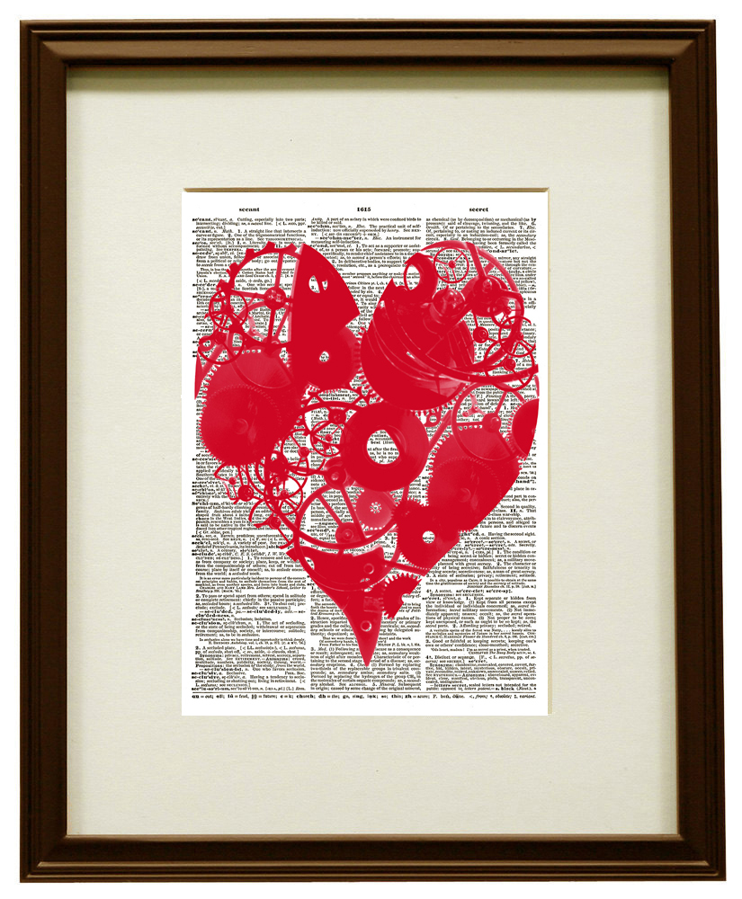 RED STEAMPUNK HEART Valentine's Day Dictionary Art Print No. 0151