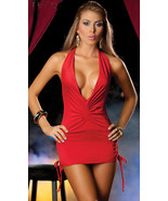Sexy Lycra Dress Deep V Front Open Back Free Size Red - $18.80