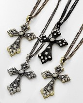 Choice of Black Gold or Silver Large Rhinestone Cross Pendant Necklace - £12.36 GBP