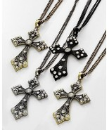 Choice of Black Gold or Silver Large Rhinestone Cross Pendant Necklace - $14.99