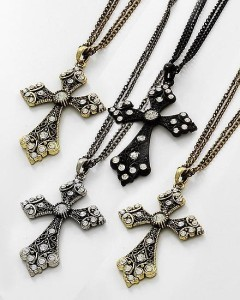 Choice of Black Gold or Silver Large Rhinestone Cross Pendant Necklace