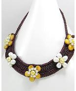 Cream Pearl Yellow Mother Of Pearl Flower Cotton Choker Necklace - $14.97