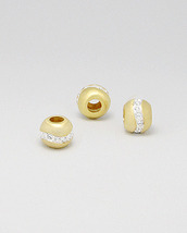 European Style Brushed Gold Crystal Glass Bead Charm - $19.97