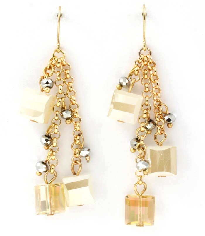 Primary image for Faceted Soft White Acrylic Squares Gold Tone Triple Chain  Dangle Earrings