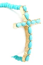 Faceted Turquoise Bead & Turquoise Acrylic Cross Stretch Bracelet Gold Tone - $13.49