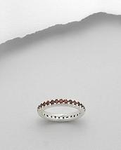Garnet Eternity Band Ring Sterling Silver Size 6 - $39.60
