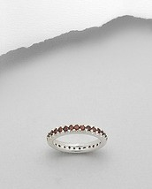 Garnet Eternity Band Ring Sterling Silver Size 9 - $39.60