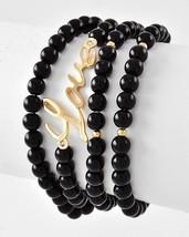 Gold Tone Black Bead Word Love 4 Piece Stretch Bracelet Set - $15.30