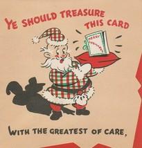Vintage Christmas Card Santa Claus Plaid Suit Treasure This Card 1946 Ru... - $9.89