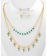 Gold Tone Turquoise Enamel Crosses Beaded Double Strand Necklace Earring... - $11.99