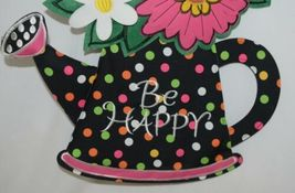 FabriCreations 2375 Be Happy Fabric Hanging Watering Can With Flower Bouquet image 3