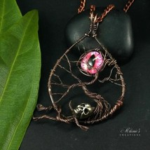 Rosalie Wire Woven Necklace with Pink Eye - $44.55