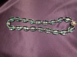Beautiful Estate Blue Hand-Knotted Faceted Glass Bead Necklace - $40.10